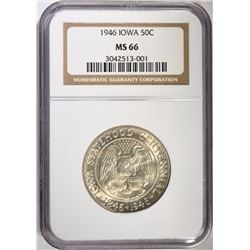 1946 IOWA COMMEM HALF DOLLAR, NGC MS-66