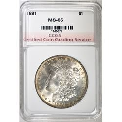 1881 MORGAN SILVER DOLLAR, CCGS GEM BU