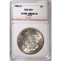 1882-O MORGAN SILVER DOLLAR, CCGS GEM BU+
