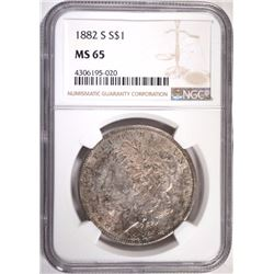1882-S MORGAN SILVER DOLLAR, NGC MS-65