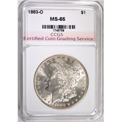 1883-O MORGAN SILVER DOLLAR, CCGS GEM BU
