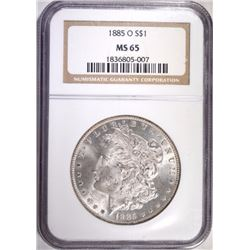 1885-O MORGAN SILVER DOLLAR, NGC MS-65