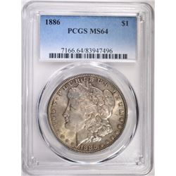 1886 MORGAN SILVER DOLLAR, PCGS MS-64