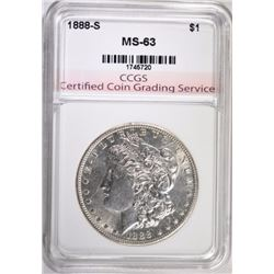 1888-S MORGAN SILVER DOLLAR, CCGS CHOICE BU