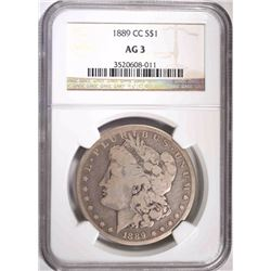 1889-CC MORGAN ILVER DOLLAR, NGC AG-3 KEY DATE
