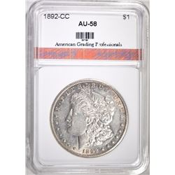 1892-CC MORGAN DOLLAR, AGP AU/BU