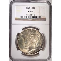 1925-S PEACE DOLLAR, NGC MS-61
