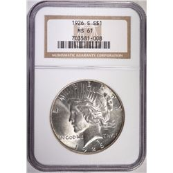 1926-S PEACE DOLLAR, NGC MS-61