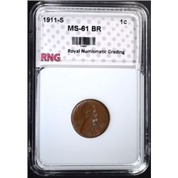 1911-S LINCOLN CENT RNG CH BU BR