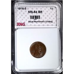 1916-S LINCOLN CENT RNG CH BU BR