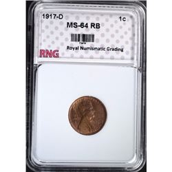 1917-D LINCOLN CENT RNG CH BU RB
