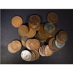 50 MIXED DATE CIRC CANADA LARGE CENTS