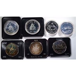 7-DIFF CANADA 50% SILVER DOLLARS IN PACKAGING