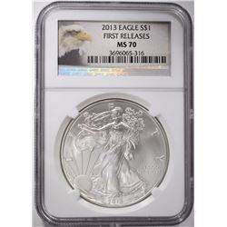2013 AMERICAN SILVER EAGLE, NGC MS-70