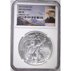 2015 AMERICAN SILVER EAGLE, NGC MS-70