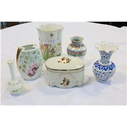 LOT OF HAND PAINTED VASES AND LIDDED DRESSER DISH