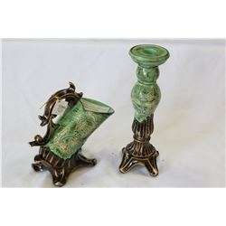 DECORATIVE POTTERY CANDLESTICK AND DECORATIVE PITCHER