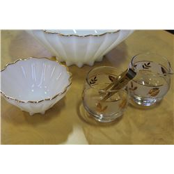 VINTAGE MILK GLASS BOWL SET AND CREAM AND SUGAR WITH TONGS