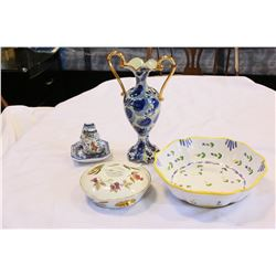 LOT OF HAND PAINTED PIECES AND ROYAL WORCESTER LIDDED DISH
