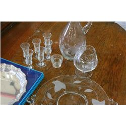 BIRKS COMMEMORATIVE PLATE IN ORGINAL BOX AND VINTAGE ETCHED GLASS DECANTER SET SERVING PLATTER AND G
