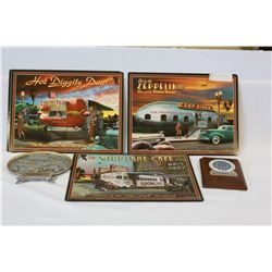 LOT OF CAR CLUB PLACEMATS AND SIGNS