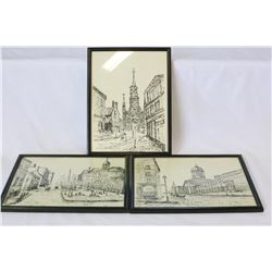 THREE VINTAGE ORIGIANL SKETCHES OF MONTREAL
