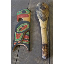 NATIVE WOOD CARVING AND CLUB