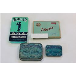 FOUR VINTAGE TOBACCO TINS