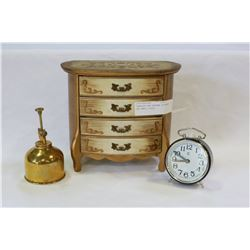 JEWELLRY BOX PERFUME DIFFUSER AND SMALL CLOCK