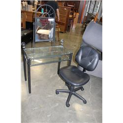 BLACK METAL AND GLASS VANITY WITH BLACK LEATHER ROLLING CHAIR