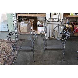 TWO ORNATE METAL PATIO CHAIRS