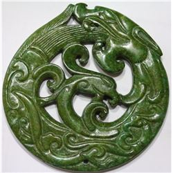 Old Green Jade Dragon Pendant