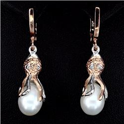 Natural Pearl Two Tone Octopus Earrings