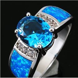 Natural Oval Swiss Topaz & Opal Ring
