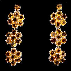 Natural Round  Yellow Citrine 52 Carats Earrings