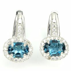Natural London Blue Topaz 26 Carats Earrings