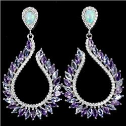 Natural Opal Tanzanite Amethyst Earrings