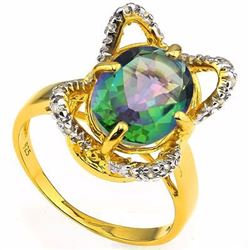 Natural Green Mystic & Diamond 2.62 ct Ring