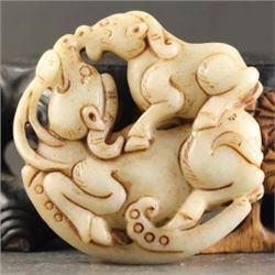 Old China Jade hand-carved Dragon Pendant