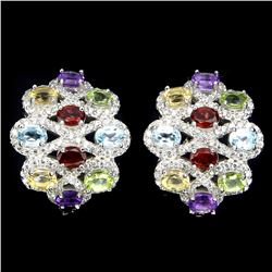 Natural Amethyst Citrine Garnet Peridot Topaz Earrings