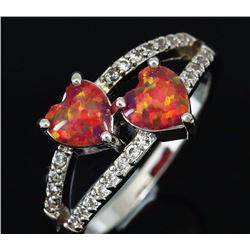 Stunning Fire Double Heart Opal Ring