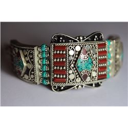 Tibet Hand Made Coral & Turquoise Bracelet