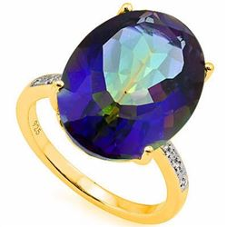 Natural Ocean Mystic Gem & Diamond Ring