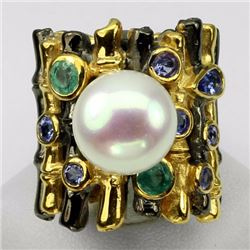 Natural White Pearl 11 mm Emerald Tanzanite Ring