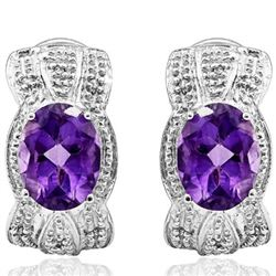Natural Amethyst & Diamond Earrings