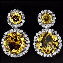 Natural Yellow Citrine 12 MM Earrings