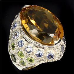 Natural  Yellow Citrine Chrome Diopside Tanzanite Ring