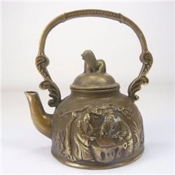 Antique Carved Copper Teapot