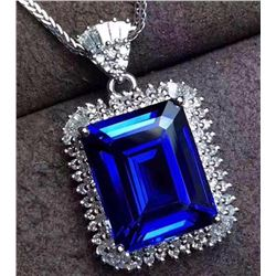 Natural AAA Tanzanite 11.75 Carats & Diamond Pendant