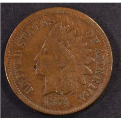 1874 INDIAN HEAD CENT, XF